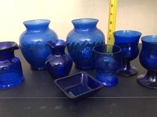 Blue Glasses  Dish  And Vases