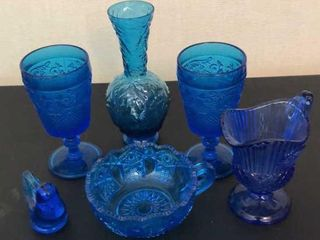 Blue Glass Goblets  Bird  Pitcher and Bowl