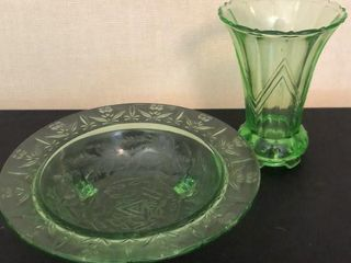 11  Green Depression Bowl and Vase