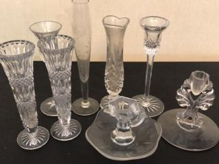 Variety of Bud Vases and Candlestick Holders