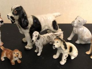 7  Porcelain Hunting Dog Figurines