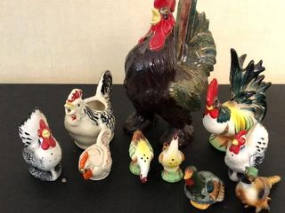 10  Rooster Figurines