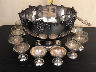 Windsor Plaque Punch Bowl  12  Goblets