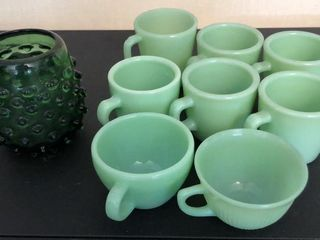 Green Fire King Cups and Green Hobnail Glass