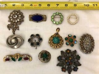 12  Vintage Pins and Brooches