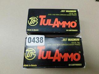 TulAmmo 357mag 158gr FMJ 100rds
