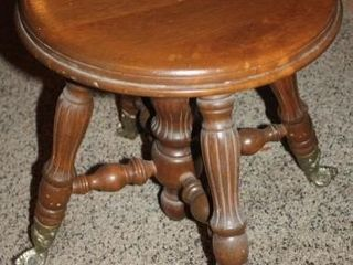 Piano Stool with Claw and Glass Ball Feet