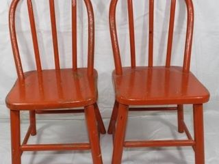 Two Matching Wooden Children s Chairs