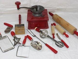 13 Vintage Red Handle Kitchen Utensils