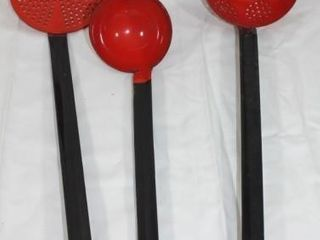 3 Vintage Red Handle Kitchen Utensils