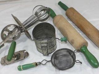 6 Vintage Green Handle Kitchen Utensils
