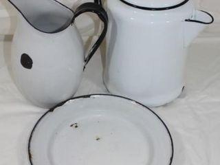 White Enamelware Coffee Pot  Pitcher   Plate