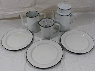 White Enamelware Coffee Pot  Tea Pot   Others