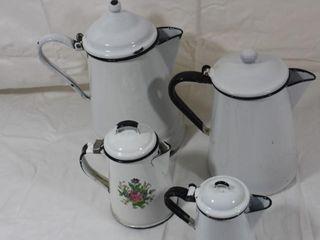 4 White Enamelware Coffee Pots