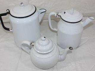 2 White Enamelware Coffee Pots   Tea Pot