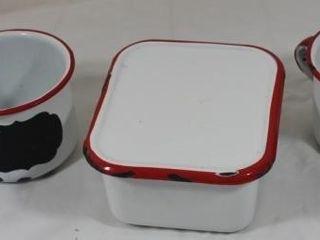 Enamelware Refrigerator Box   2 Coffee Cups