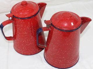 2 Speckled Red Enamel Coffee Pots