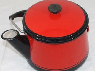 Red Graniteware Tea Pot