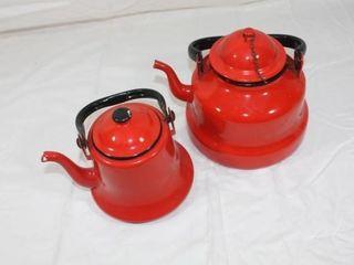 2 Red Graniteware Tea Pots
