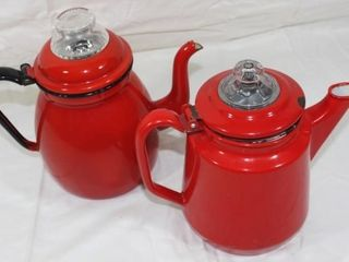 2 Red Granitware Coffee Pots