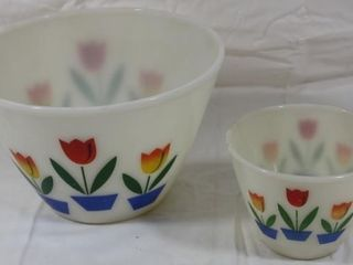 2 Fire King Tulip Mixing Bowls