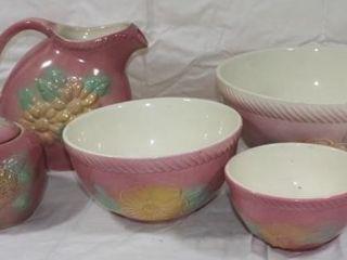1934 Sunglow Yellow Flower Pink Hull Pottery Pcs
