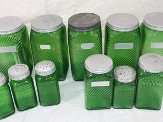 Vintage Green Depression Glass Canisters