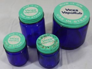 4 Blue Vicks Vapor Rub Jars