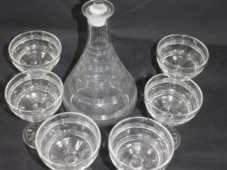 Clear Glass Decanter w 6 Glasses