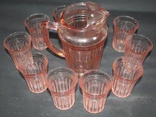 Pink Depression Glass Pitcher w 10 Glasses