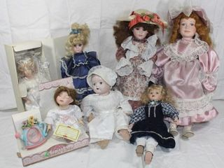 Collection of 7 Porcelain Dolls