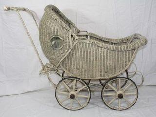 Vintage Wicker Baby Doll Buggy Stroller