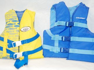 2 Youth life Jacket   Yellow life Jacket is Small  Fits 30 50 lbs   Blue life Jacket Fits 50 90 lbs