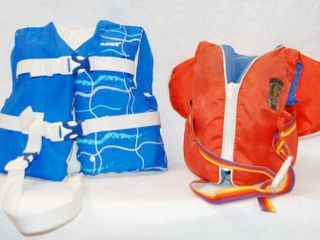 2 Infant Child life Jackets  w  Underneath Protective Strap  See Photos for Weight  amp  Size