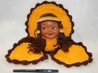 Crocheted Indian Girl  w  a Indian Doll Face w  Hook to Hang on Wall