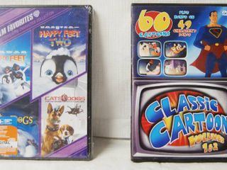 2 DVDs  1st DVD   Happy Feet 1 and 2  Cats and Dogs  etc    2nd DVD   60 Classic Cartoons and Children Songs