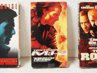 lot of 3 VHS Movies  Mission Impossible  Mission Impossible II  The Rock