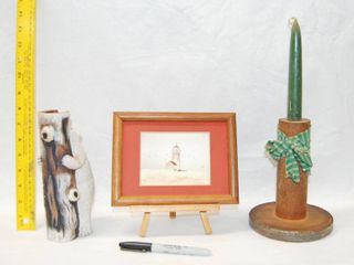 Bear Figurine  light House Picture with Stand  and VERY NEAT Wood Candle Holder  See Photos