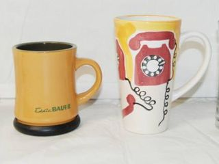 lot of 3 Coffee Cups and a Glass Mug  Collectible McDonald s Coffee Cup  oven proof  and Eddie Bauer Coffee Cup