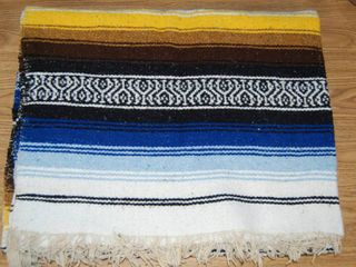 Beautiful Afghan Blanket  Blue  Yellow  and White Approximately 50x80