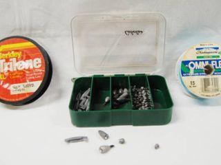 2 Fishing Spools of line  a Plastic Cabelas Box of Sinkers