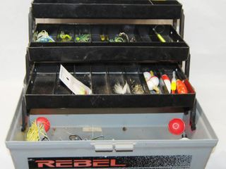 REBElE Tackle Box  w  Bobbers  Fishing Jigs and more  See Photos