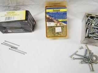 Box of Bright Finish Acabado Brillante Nails  Box of Drywall Screws  Fine Tread  6 x 2 1 4 Trim Head  and lot of Screws and Misc