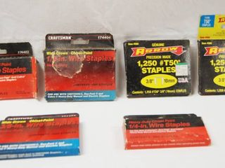 lot of 6 Boxes of Heavy Duty Wire Staples Sizes Include   3 8 in  1 2 in  1 4 in  3 8 in