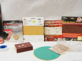 lot of SANDING DISCS  See Photos for Different Sizes and Grit  and a Pair of Safety Glasses