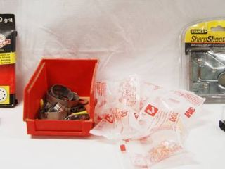 Sanding Discs  Clamps  Ear Plugs  Stanley Sharp Shooter  Stapler  and 2 Pair of Safety Glasses