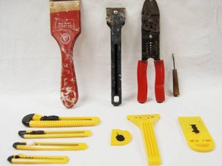 lot of Paint Scrapers  Wire Cutters  and Utility Knifes