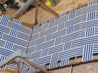 Very Nice Blue and White Striped  lawn Chair Recliner