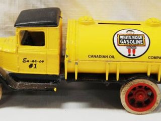 White Rose Gasoline  Die Cast Metal  Tanker  locking Coin Bank w Key Great Christmas Gift