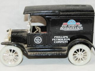 The Spirit of Performance  Phillips Petroleum Company Car  w  locking Coin Bank  w  Key  Die Cast Metal